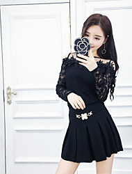 Sign Nett may Ailei Si 2017 new sweet lace leakage shoulder blouse pleated skirt suit +