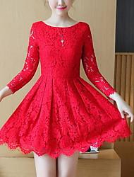 Dentelle Robe Femme Sortie simple,Couleur Pleine Fleur Col Arrondi Au dessus du genou Manches Longues Bleu Rose Rouge Noir Jaune Coton