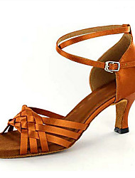 New Women's Latin Ballroom Salsa Dance Shoes Brown Satin Heels Knot Buckle Samba Dancing Shoes For Girls Customizable