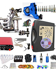 Starter Tattoo Kit 1 steel machine liner & shader 1 rotary machine liner & shader Tattoo Machine Mini power supply 10 × 5ml Tattoo Ink 2