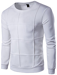 Men's Plus Size Daily Sports Casual Active Sweatshirt Solid Round Neck Micro-elastic Cotton Rayon Long Sleeve Spring Fall