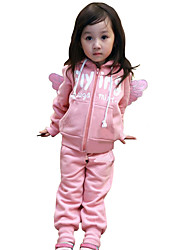 Girl's Going out Casual/Daily Sports Patchwork Cotton Spring/Fall Long Sleeve Angel's Wings Coat Pant 2 Piece Clothing Set Children's Garments