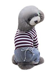 preiswerte -Hund T-shirt Overall Hundekleidung Klassisch Modisch Sport Streifen Braun Blau Kostüm Für Haustiere