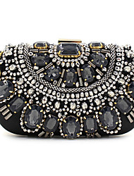 Women Bags All Seasons Polyester Silk Evening Bag Sequin Crystal/ Rhinestone Acrylic Jewels for Wedding Event/Party Formal Black