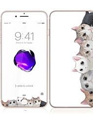 para Apple iPhone 7 4,7 vidro temperado com frente borda suave cobertura de tela cheia e protetor de tela de volta padrão de gato lindo