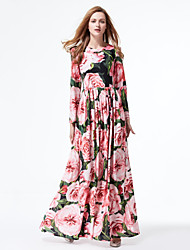 Stephanie Going out Cute Swing DressFloral Round Neck Maxi Long Sleeve Polyester Pink Spring Summer Mid Rise Micro-elastic