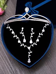 Цирконий Циркон 1 ожерелье 1 пара сережек Украшения для волос Для Свадьба Для вечеринок Повседневные 4шт Свадебные подарки