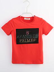 preiswerte -Jungen T-Shirt Alltag Einfarbig Baumwolle Sommer Kurzarm Rote