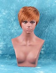 abordables -peluca corta mullida del pelo humano recto bang lado