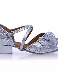 Women's Kids' Dance Shoes Patent Leather Sparkling Glitter Paillette Synthetic Latin Flats Sandals Sneakers Low Heel