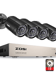 ZOSI®8-Channel 1080N HD-TVI DVR Surveillance Camera Kit 4x 1280TVL Indoor Outdoor IR Weatherproof Cameras 1TB