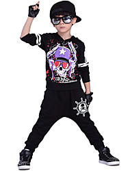Boy's Going out Casual/Daily Sports Print Sets Cotton Spring/Fall Long Sleeve Hoodies Blouse Pants 2 Piece Clothing Set Children's Garments Black