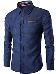 cheap -Men's Cotton Slim Shirt - Solid Colored Classic Collar