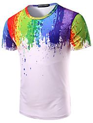 Hombre Simple Noche Casual/Diario Playa Camiseta,Escote Redondo Arco iris Manga Corta Algodón Multicolor