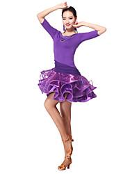 baratos -Dança Latina Vestidos Mulheres Treino Fibra de Leite Manga 3/4 Natural Vestido Calções