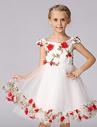 Ball Gown Knee Length Flower Girl Dress - Organza Sleeveless Off-the-shoulder with Flower by YDN