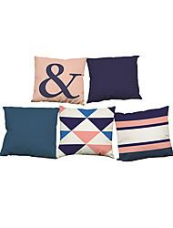 Set of 5 Modern simple home geometric pattern Linen Pillowcase Sofa Home Decor Cushion Cover