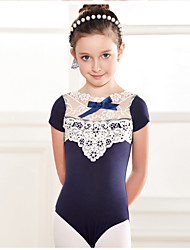 Ballet Leotards Children's Training Cotton Lace 1 Piece Short Sleeve Dropped Leotard