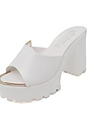 Dámské Sandály Pohodlné hrbit boty PU Léto Ležérní Chůze Pohodlné hrbit boty Kačenka Block Heel Bílá Černá Modrá 2.5 - 4.5 cm