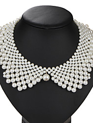 cheap -Round Shape Vintage Handmade Euramerican Collar Necklace Pearl Imitation Pearl Alloy Collar Necklace Party Birthday Daily Costume Jewelry