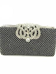 Women Bags All Seasons Nylon Satin Evening Bag Crystal/ Rhinestone Metallic for Wedding Event/Party Formal Gold Black Silver