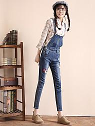 Sign 2017 women's denim overalls female feet pants slacks jeans female was thin straps