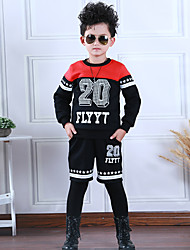 Boy's Going out Casual/Daily Sports Print Patchwork Cotton Spring/Fall Long Sleeve Blouse Pants 2 Piece Clothing Set Children's Garments