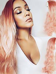 baratos -OUO Hair Perucas Lace Front Sintéticas Onda de Corpo Rosa Cabelo Sintético Riscas Naturais Rosa Peruca Mulheres Longo / Muito longo Frente de Malha Rosa