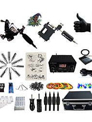 Complete Tattoo Kit 1 steel machine liner & shader 1 rotary machine liner & shader 2 Tattoo Machines LCD power supply Inks Shipped