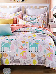 Deer Cartoon Kids Adults Bedding Sets Twin Full Queen King Size Doona Duvet Cover Set 100% Cotton Bedlinen