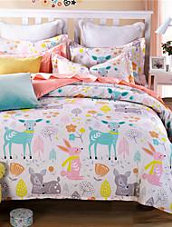 Blumen Bettbezug-Sets 3 Stück Baumwolle Karton Reaktivdruck BaumwolleEinzelbett Doppelbett ca. 1,50 m breites Doppelbett ca. 1,90 m