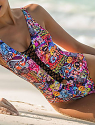 cheap -Women's Bandeau Print One-piece