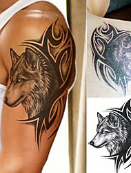 cheap -1 pcs Water Transfer Fake Tattoo Waterproof Temporary Tattoo Sticker Men Women Wolf Tattoo Flash Tattoo