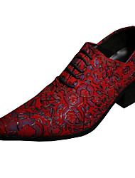 Men's Shoes Leather Spring Summer Fall Winter Comfort Novelty Oxfords Walking Shoes Flower For Wedding Party & Evening Red