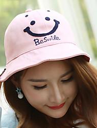 Women Embroidery Smiley Face Printing Dome Pot Fisherman Leisure Sun Basin Cap