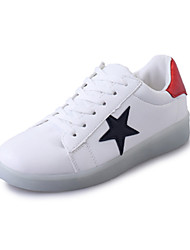 cheap -Women's Shoes PU(Polyurethane) Spring / Summer Comfort / Light Up Shoes Sneakers Flat Heel Round Toe Black / Red