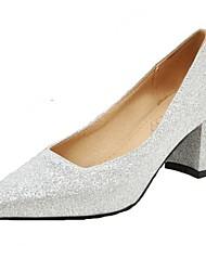 Women's Heels Spring Summer Fall PU Office & Career Dress Casual Chunky Heel Block Heel Gold Black Silver Red