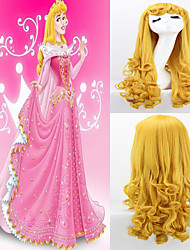 Movie Sleeping Beauty Princess Aurora Long Curly Golden Anime Cosplay Costume Wigs High Quality Wave Party Wig Hair