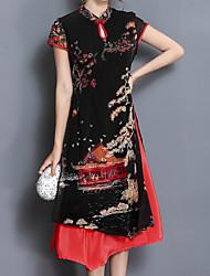 baratos -Mulheres Tamanhos Grandes Temática Asiática Reto Vestido Xadrez Gola Redonda Assimétrico