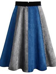 Da donna Gonne-Linea A Monocolore Collage-A vita medio-alta Semplice Midi Casual Cotone Acrilico Cerniera Anelastico Con molla