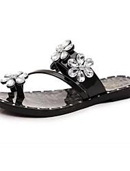 Dámské Pantofle a Žabky Pohodlné hrbit boty PU Léto Ležérní Chůze Pohodlné hrbit boty Aplikace Plochá podrážka Černá Stříbrná Plochý