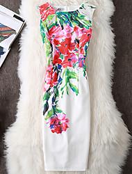 abordables -Femme Travail Sortie Chinoiserie Moulante Robe - Imprimé Mi-long Blanc