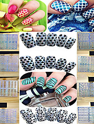 1pcs New Fashion Colorful Design Sliver Glitter Hollow Stickers Geometry&Love Heart Pattern Design Nail Art Manicure DIY Beauty Tips STZ-K01-24