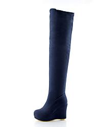 cheap -Women's Boots Spring Fall Winter Comfort Fleece Wedding Casual Party & Evening Wedge Heel Black Red Blue Walking