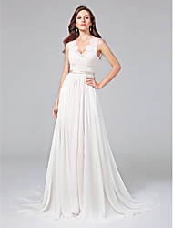A-Line V-neck Court Train Chiffon Lace Wedding Dress with Lace Sash / Ribbon Button by LAN TING BRIDE®