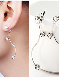 cheap -S Shape Eleglant Imitation Pearl Drop Earrings Jewelry Wedding Party Daily Casual Alloy 1 pair Silver
