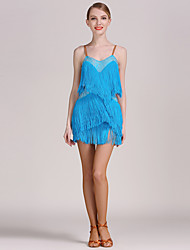 High-quality Spandex with Rhinestones and Tassel(s) Latin Dance Dresses for Women's Performance