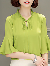 cheap -Women's Work Going out Street chic Blouse - Solid Colored Floral Stand