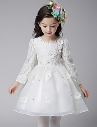 cheap -Ball Gown Knee Length Flower Girl Dress - Organza Long Sleeves Jewel Neck with Applique by YDN
