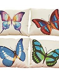 abordables -4 PC Lino Natural/Orgánico Cobertor de Cojín Funda de almohada,Sólido Con TexturasModerno/Contemporáneo Oficina/ Negocios